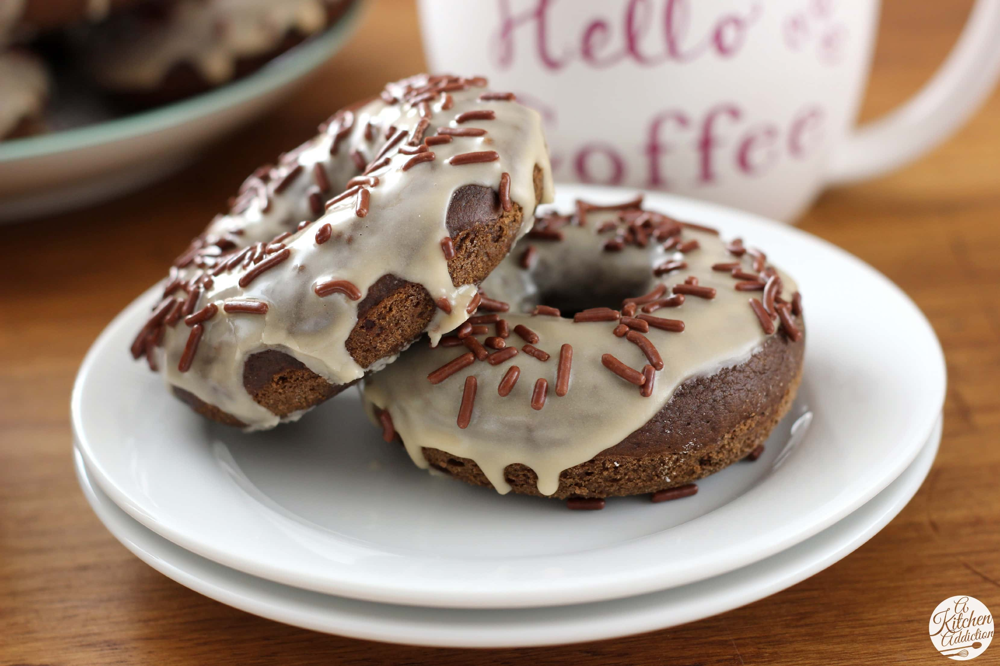 Mocha Chip Donuts l www.a-kitchen-addiction.com #CoffeeBuzz