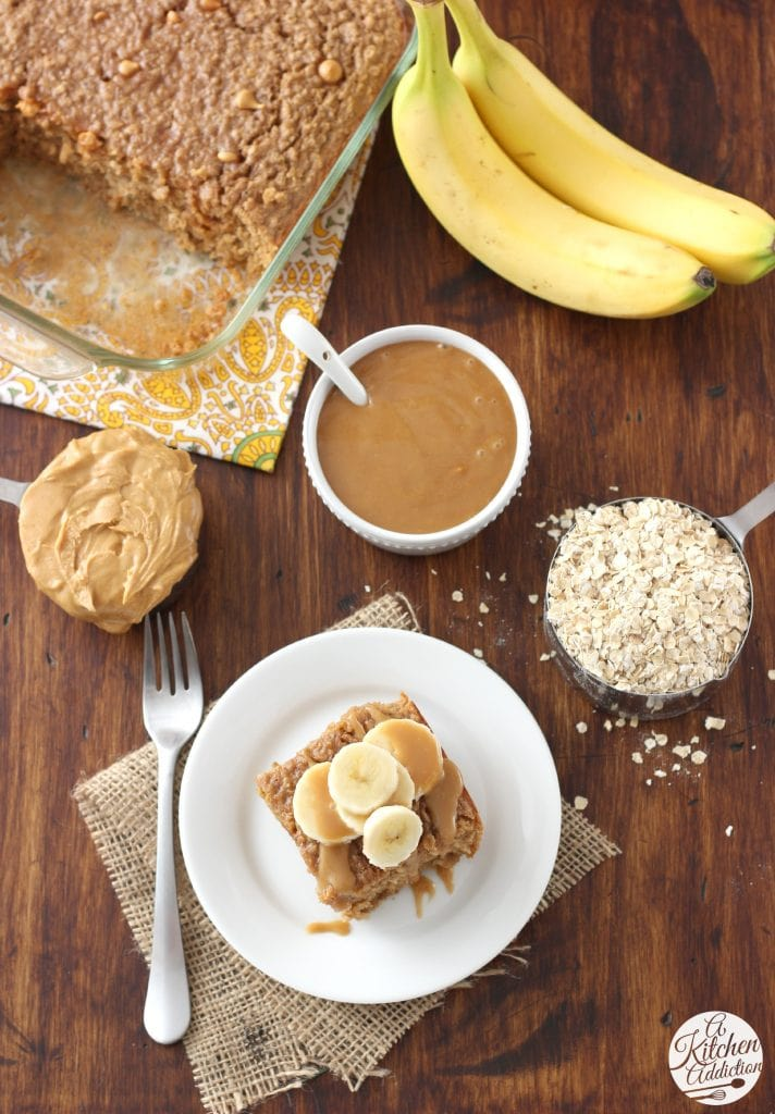 Peanut Butter Banana Bread Baked Oatmeal Recipe l www.a-kitchen-addiction.com