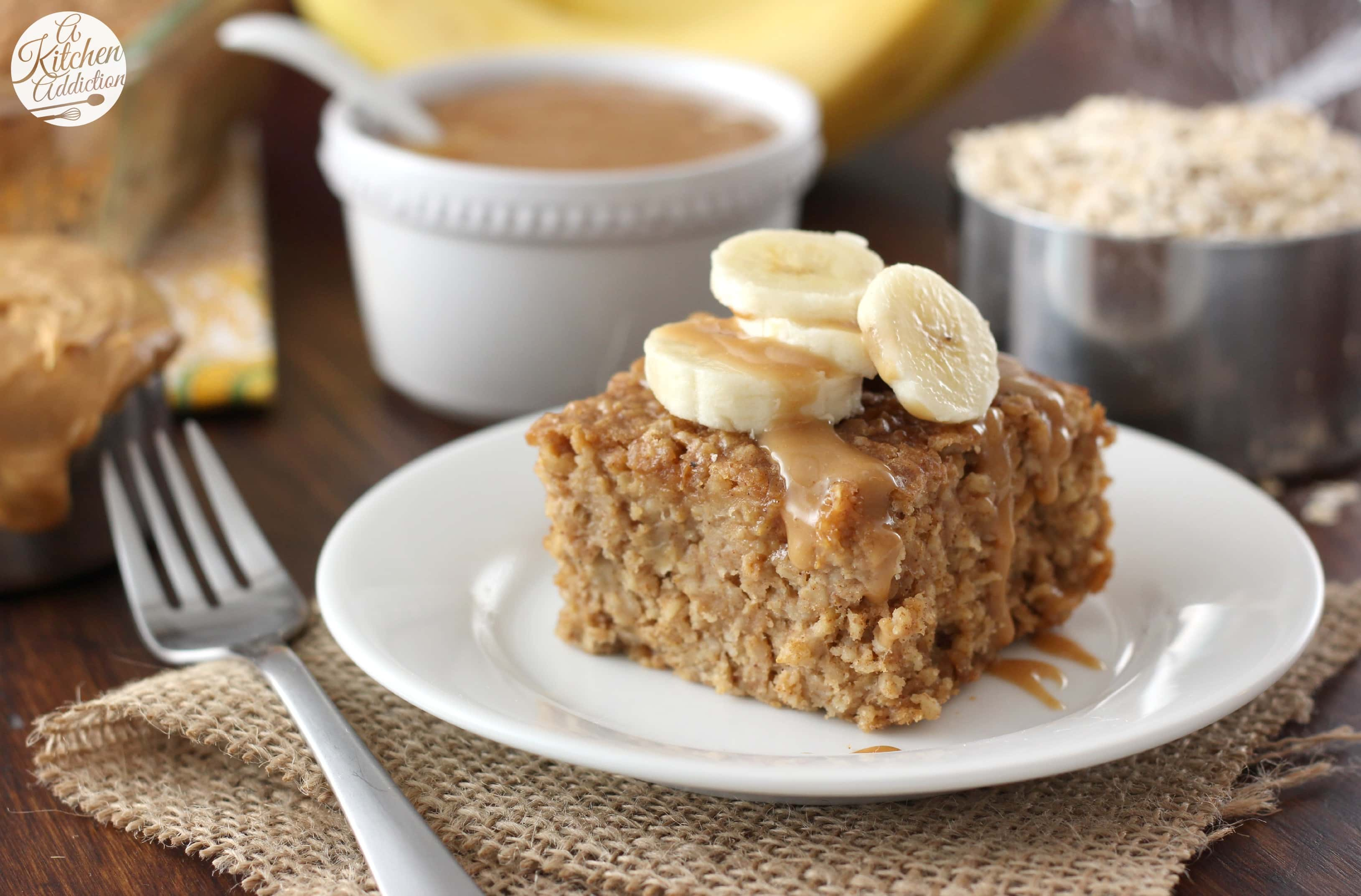 Peanut Butter Banana Bread Baked Oatmeal Recipe l www.a-kitchen ...