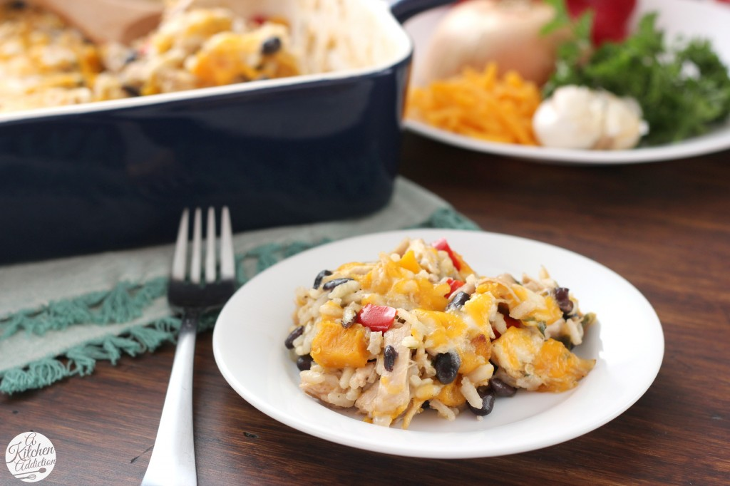 Cheesy Jalapeno Rice Bake with Roasted Squash and Chicken l www.a-kitchen-addiction.com
