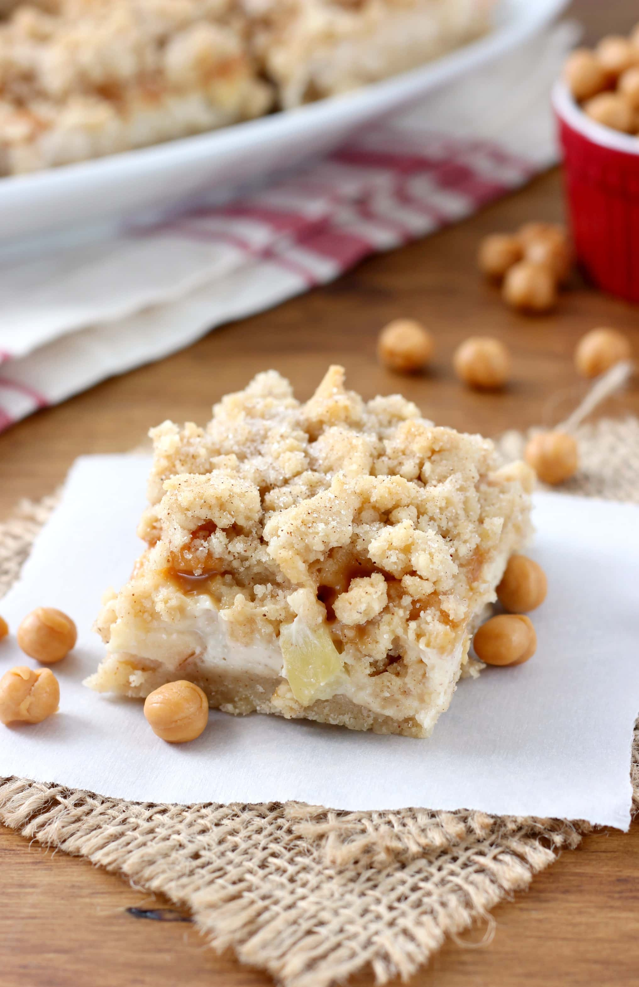 Caramel Apple Snickerdoodle Cheesecake Bars Recipe from A Kitchen Addiction