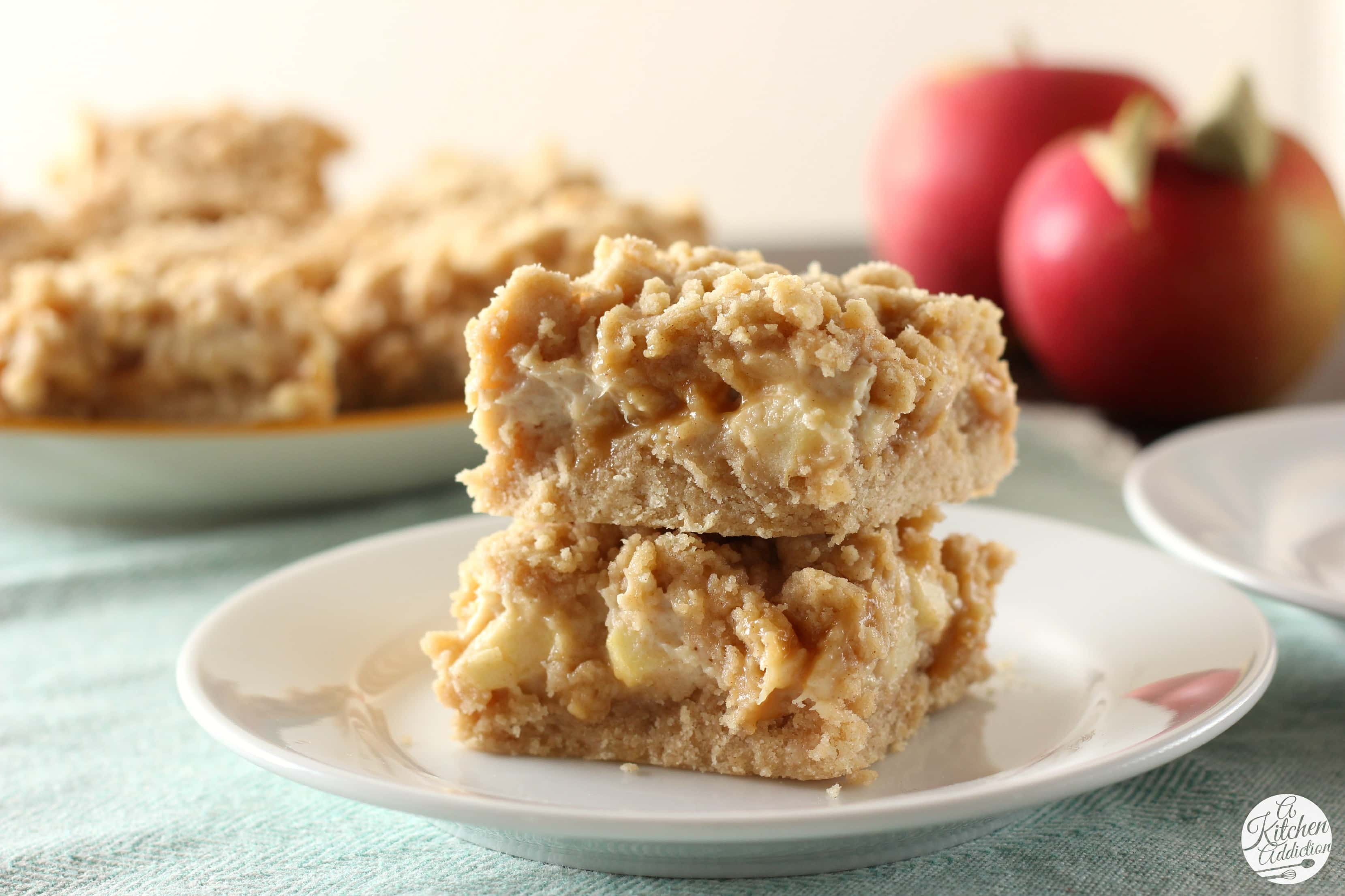Caramel Apple Snickerdoodle Cheesecake Bars Recipe l www.a-kitchen ...