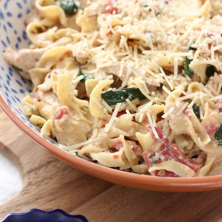 Creamy Garlic Parmesan Chicken and Noodles