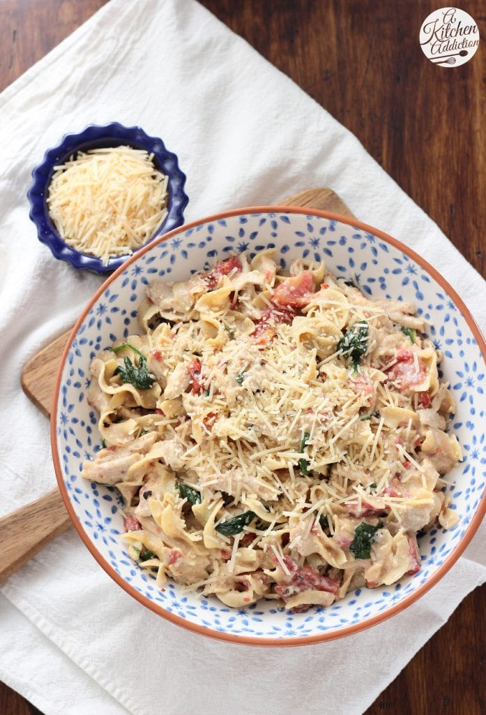 Creamy Garlic Parmesan Chicken and Noodles Dish from A Kitchen Addiction