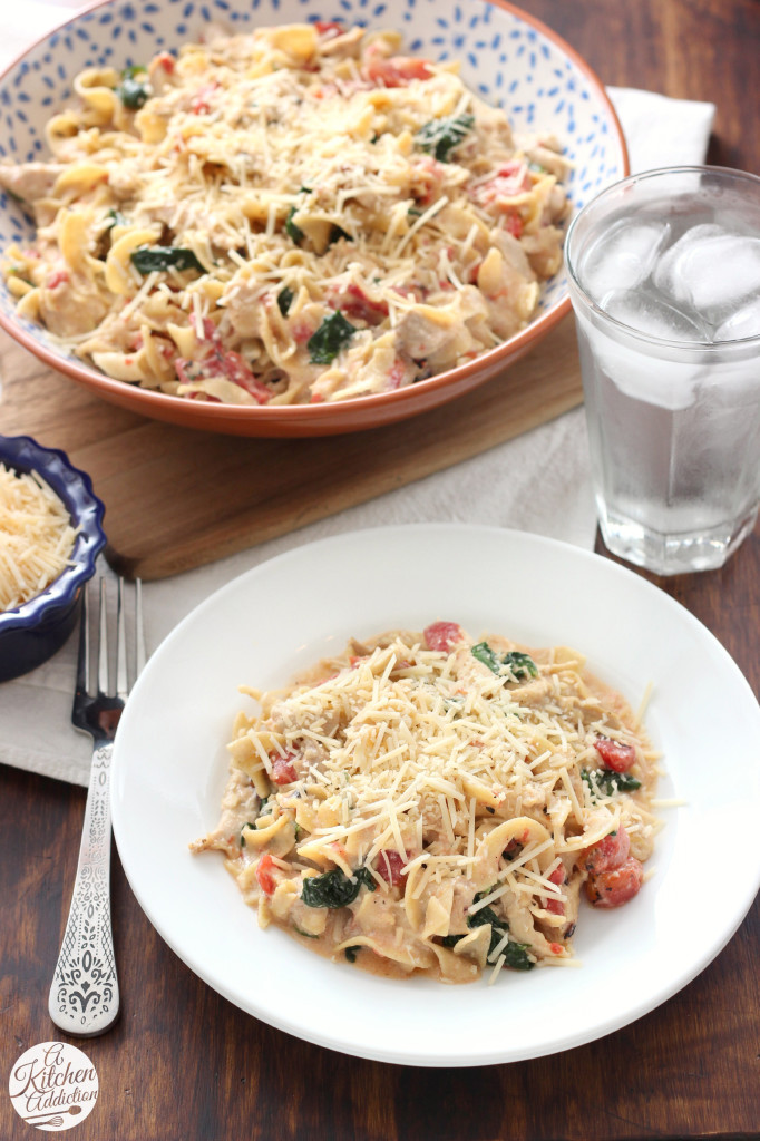 Creamy Garlic Parmesan Chicen and Noodles Casserole from A Kitchen Addiction