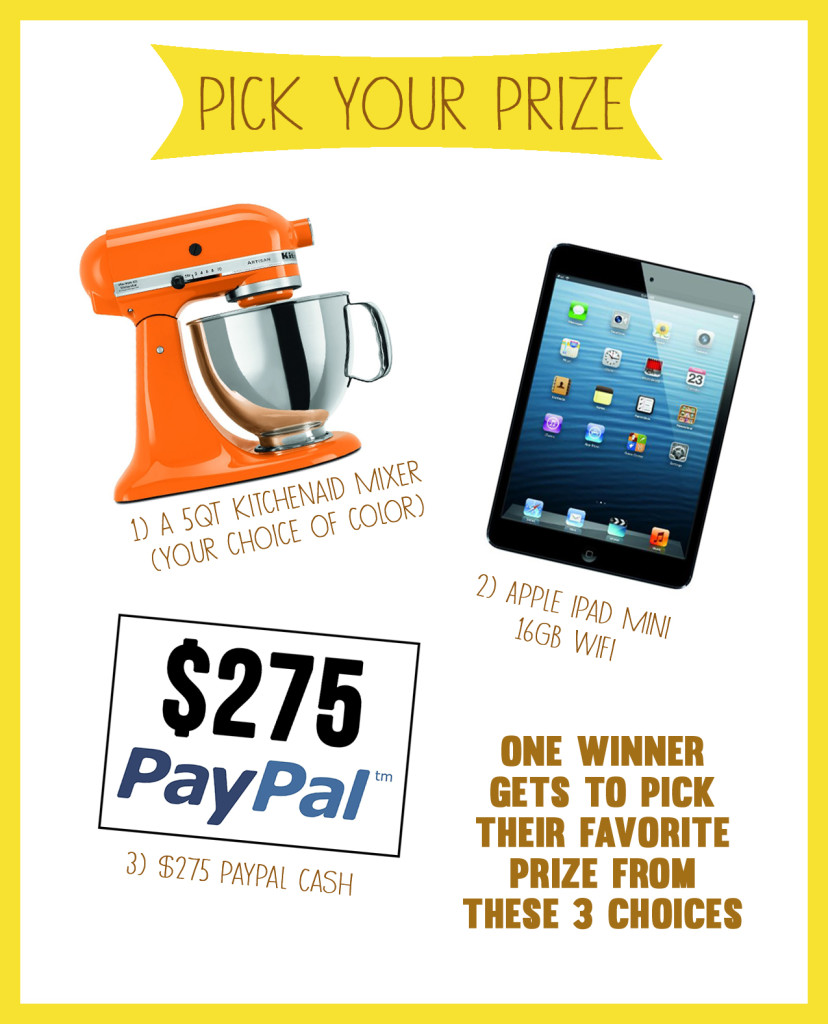 Pick Your Prize Giveaway from A Kitchen Addiction