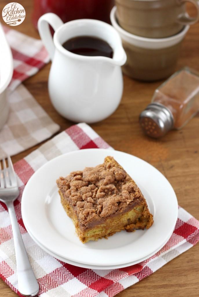 Pumpkin French Toast Bake Recipe l www.a-kitchen-addiction.com