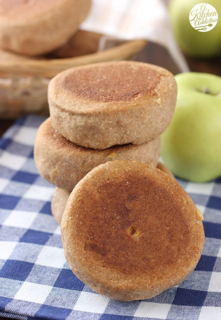 Whole Wheat Apple Spice English Muffins from A Kitchen Addiction