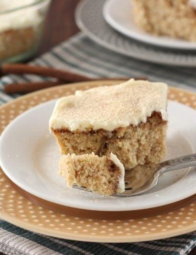 Eggnog Cinnamon Roll Cake