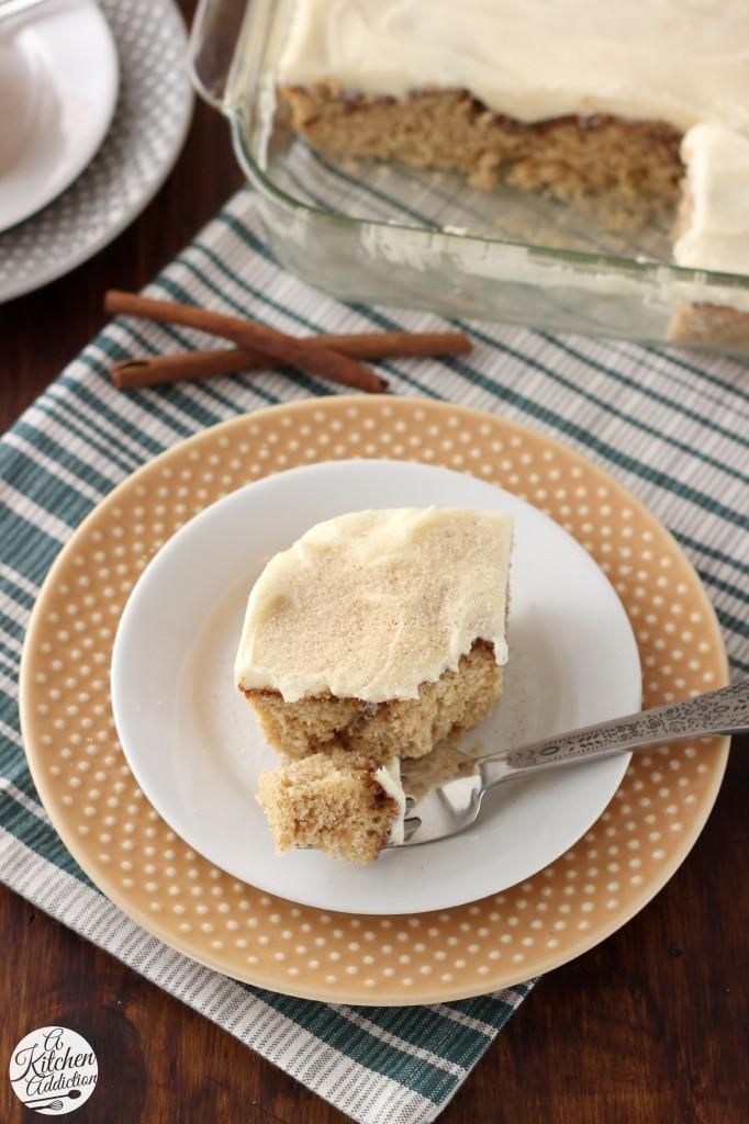 Eggnog Cinnamon Roll Cake with Eggnog Cream Cheese Frosting Recipe l ...