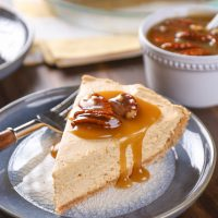 Maple Pumpkin Cheesecake with Pecan Praline Topping