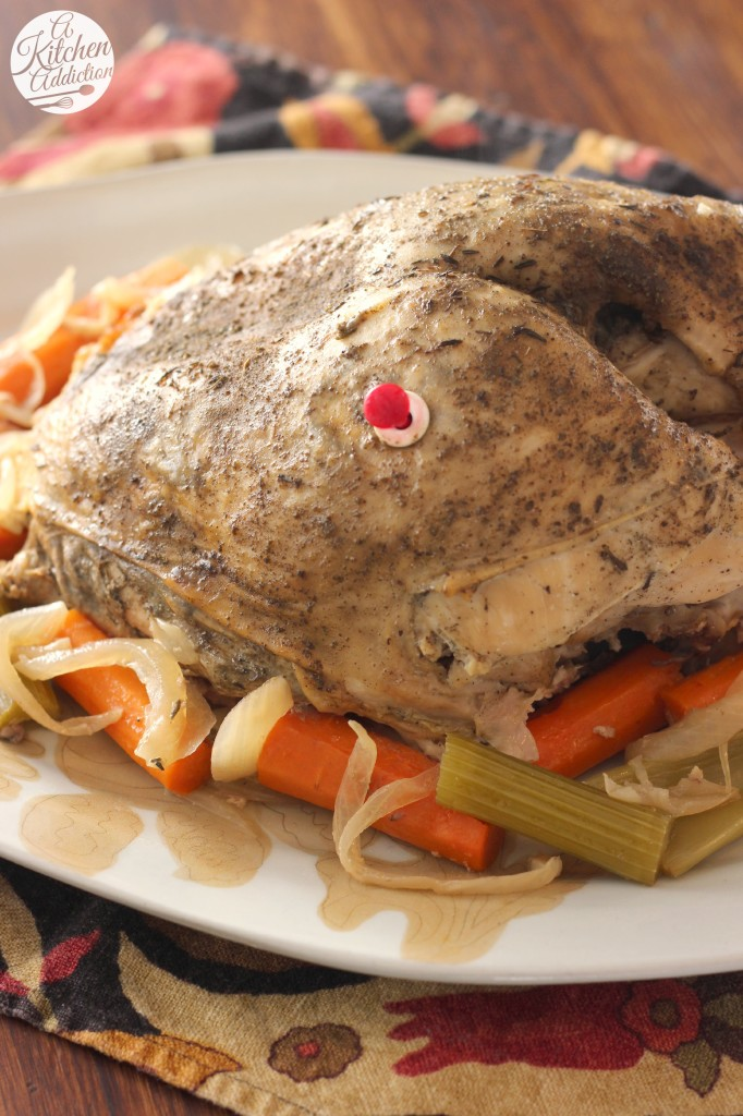 Easy Slow Cooker Herbed Butter Turkey Breast Recipe l www.a-kitchen-addiction.com