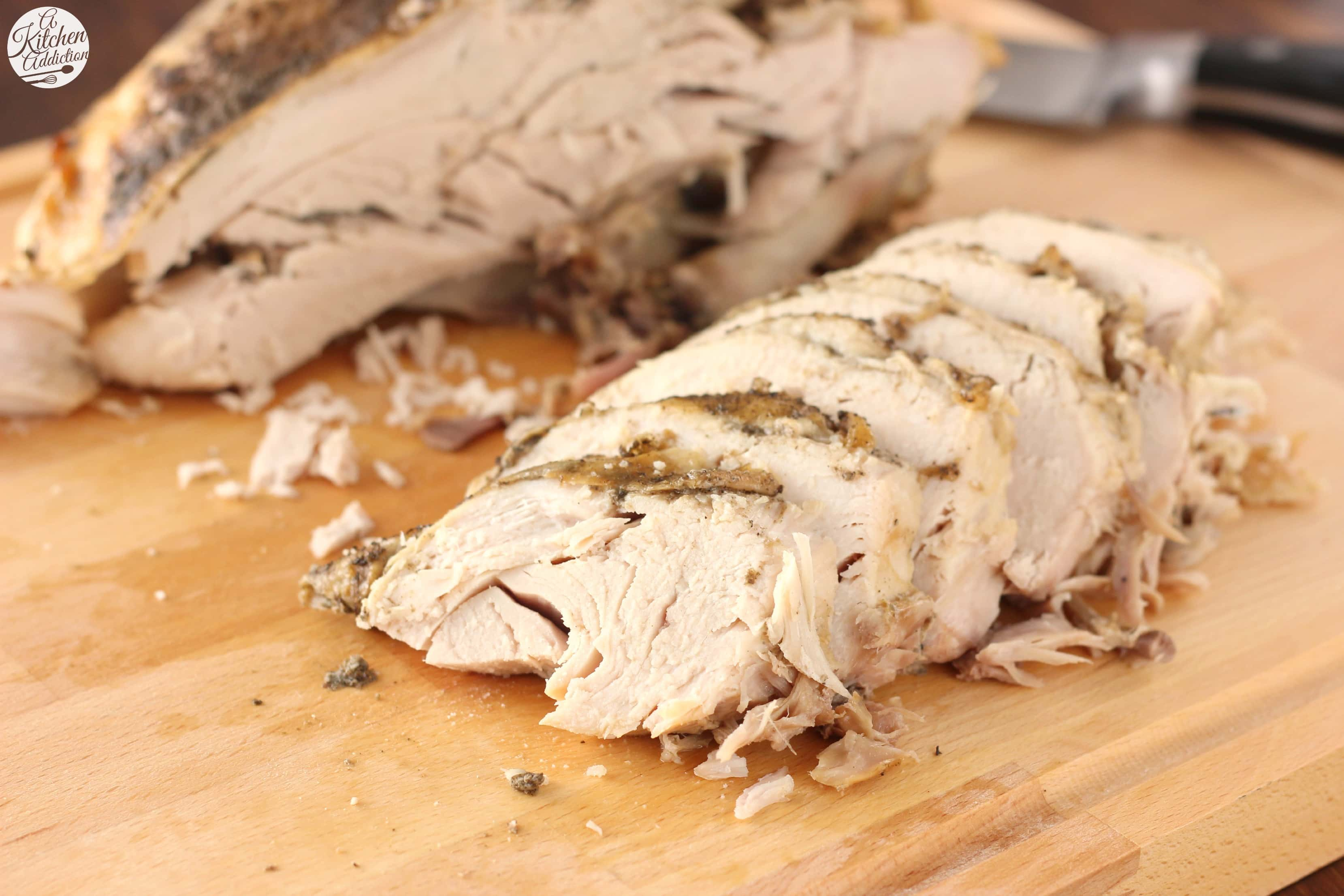 Slow Cooker Herbed Butter Turkey Breast Recipe l www.a-kitchen-addiction.com