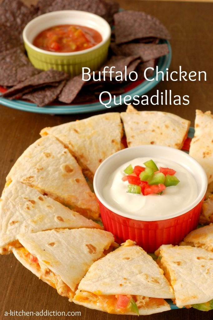 Easy Buffalo Chicken Quesadillas Recipe l www.a-kitchen-addiction.com