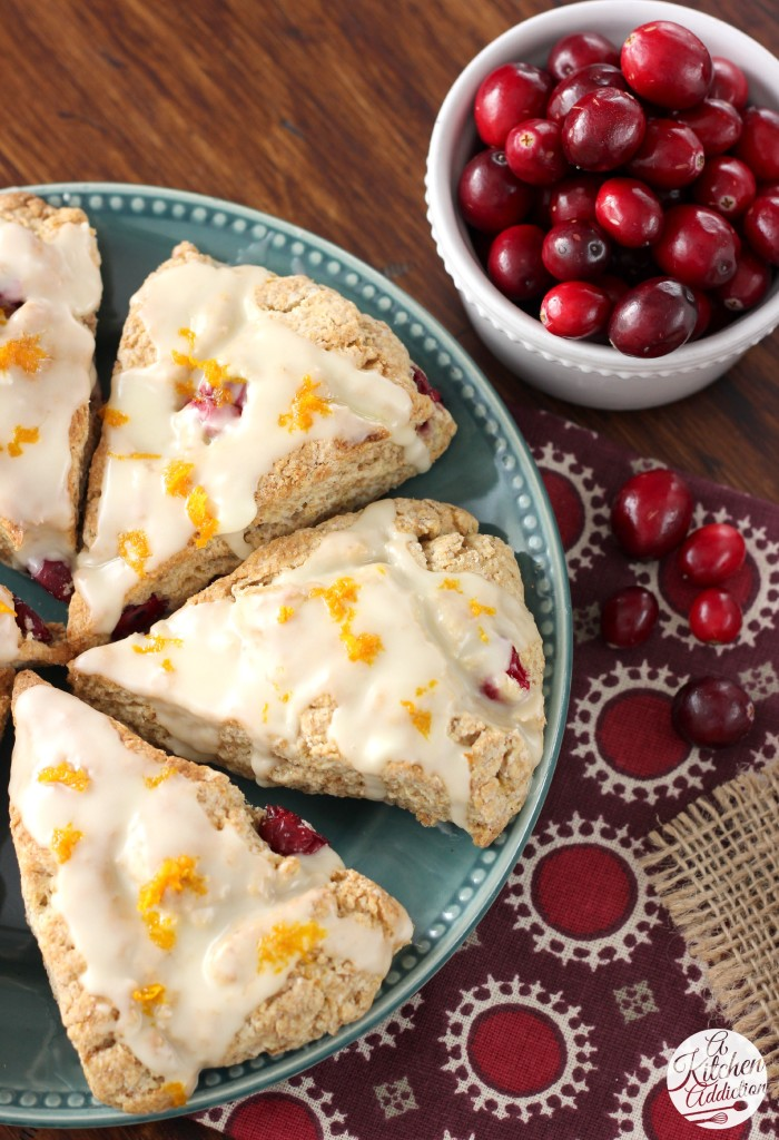 Whole Wheat Cranberry Orange Scones Recipe from A Kitchen Addiction