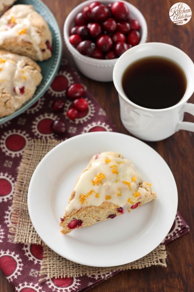 Cranberry Orange Scones Recipe l www.a-kitchen-addiction.com