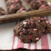 Dark Chocolate Peppermint Crunch Cookies