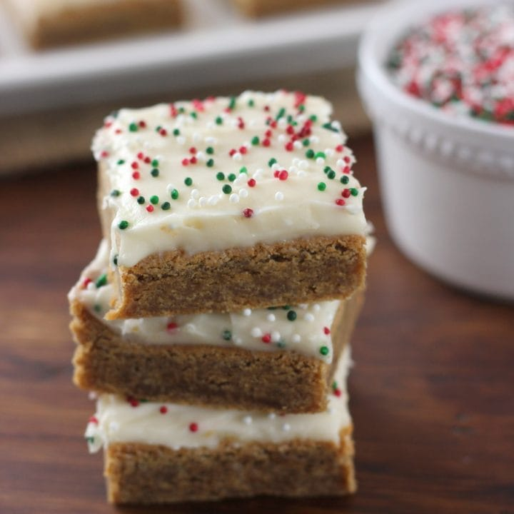 Gingerbread Bars with Eggnog Cream Cheese Frosting Recipe - A Kitchen Addiction