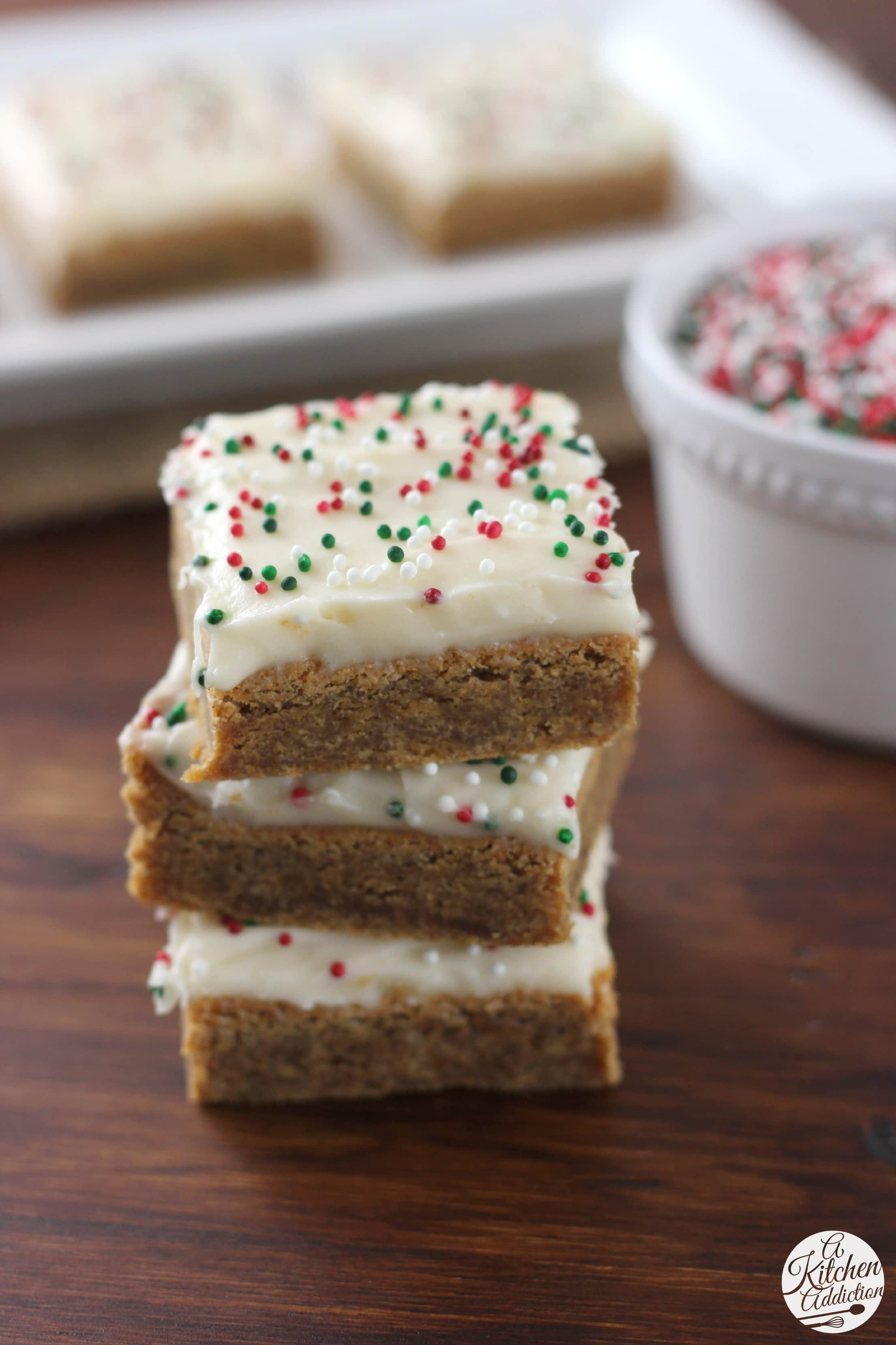Gingerbread Bars with Eggnog Cream Cheese Frosting Recipe - A Kitchen ...