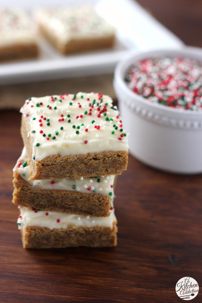 Eggnog Cream Cheese Frosting Gingerbread Cookie Bars Recipe - A Kitchen Addiction