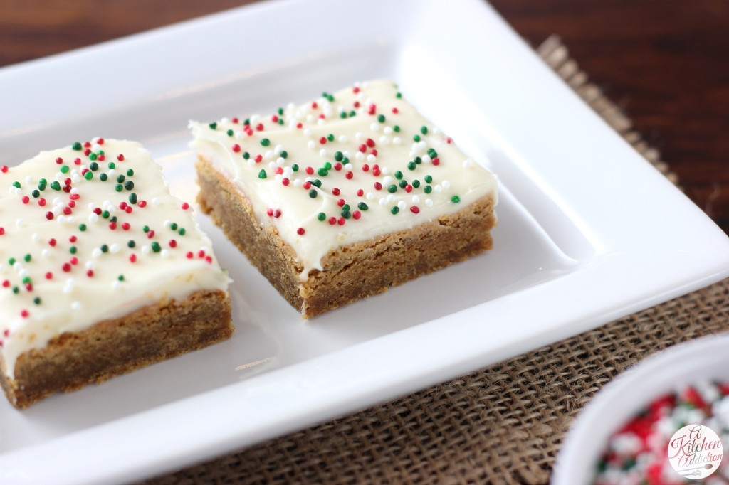 Gingerbread Bars with Eggnog Cream Cheese Frosting from A Kitchen Addiction
