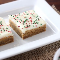 Gingerbread Bars with Eggnog Cream Cheese Frosting