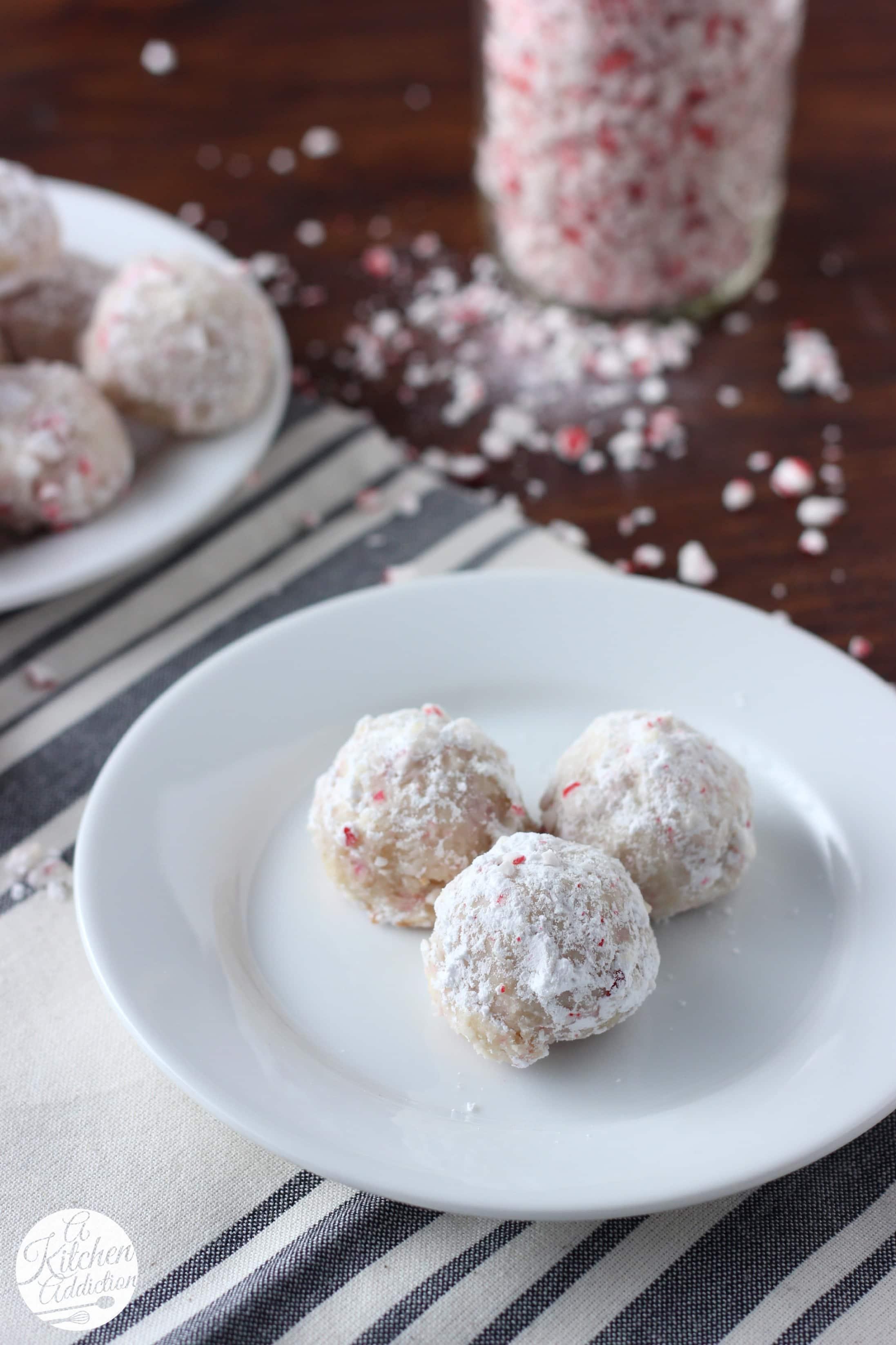 Peppermint Crunch Snowball Cookies