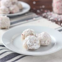 Peppermint Crunch Snowball Cookies