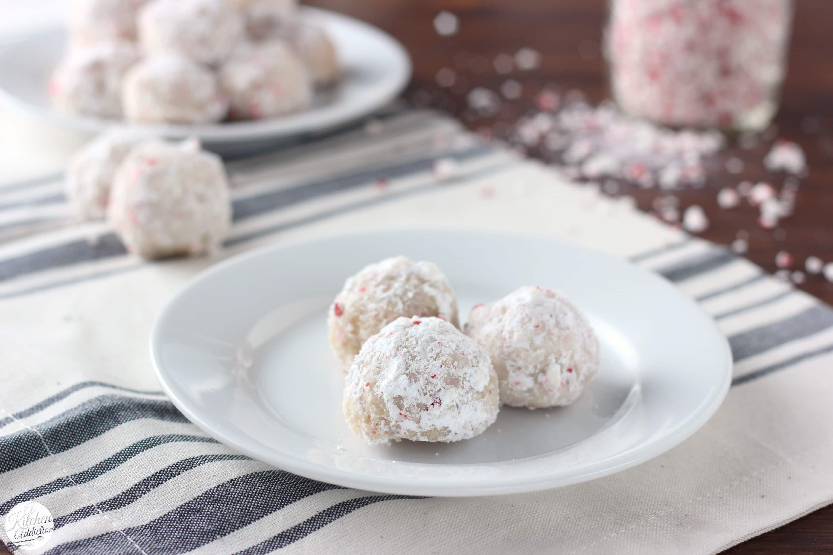 Easy Peppermint Crunch Snowball Cookies Recipe from A Kitchen Addiction