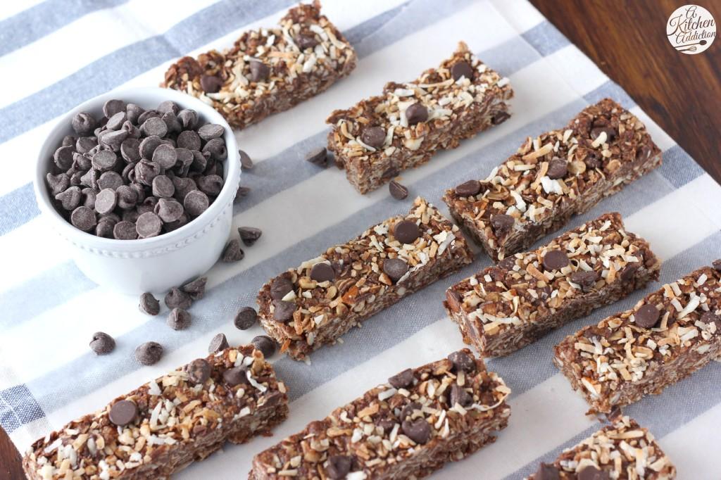 Easy Chocolate Almond Joy Granola Bars Recipe from A Kitchen Addiction