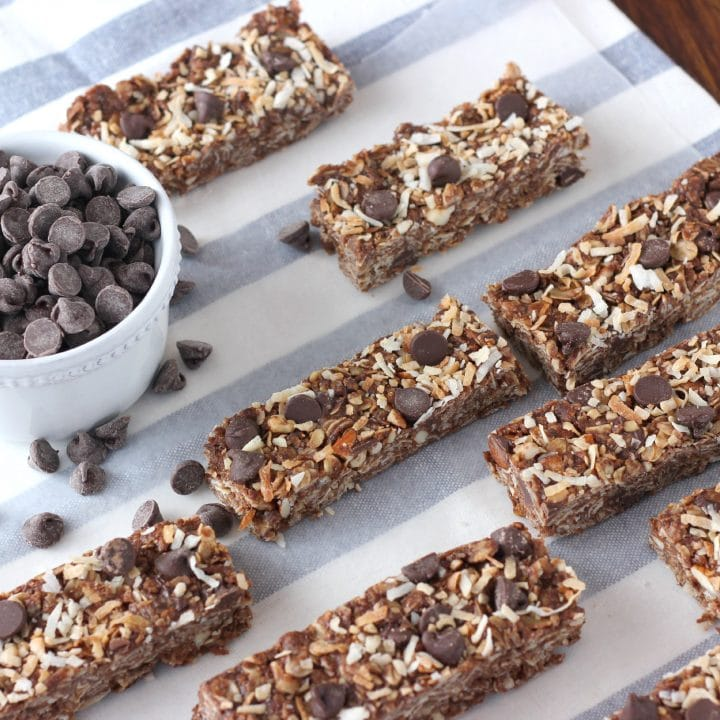 Easy Chocolate Almond Joy Granola Bars Recipe from A Kitchen Addiction