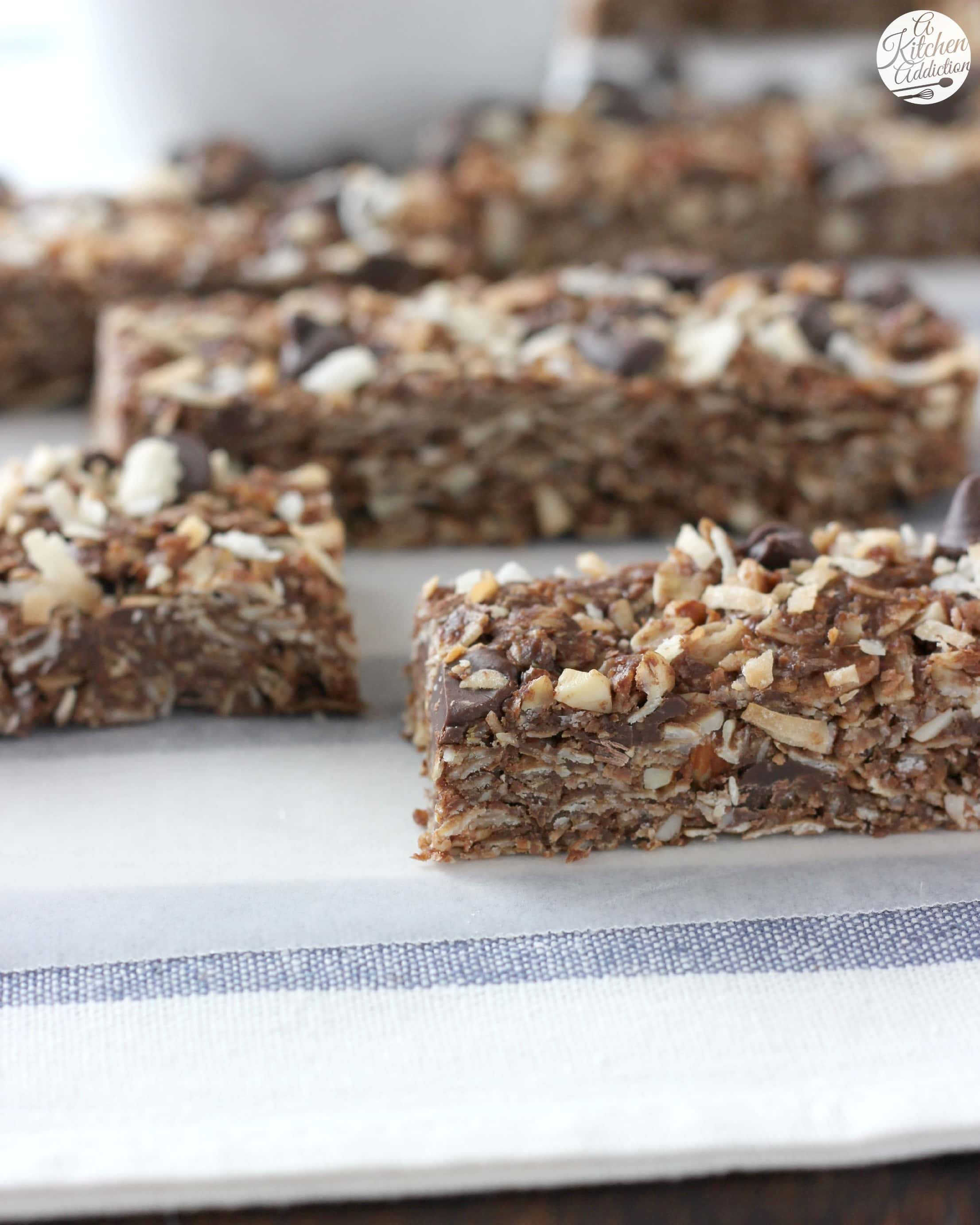 No Bake Chocolate Almond Joy Granola Bars l www.a-kitchen-addiction ...