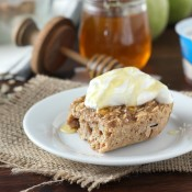 Cinnamon Pear Yogurt Baked Oatmeal Recipe l www.a-kitchen-addiction.com