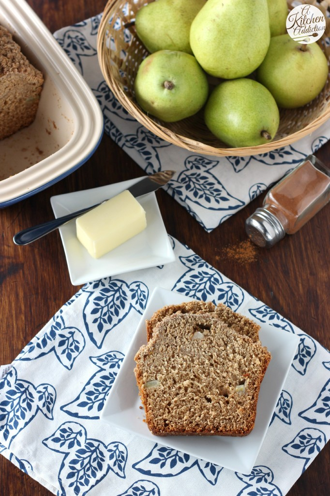 Cinnamon Pear Yogurt Bread Recipe from A Kitchen Addiction