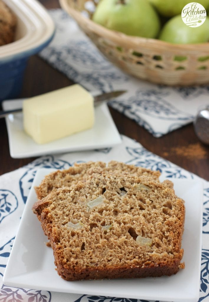 Lightened Up Cinnamon Pear Yogurt Quick Bread l www.a-kitchen-addiction.com