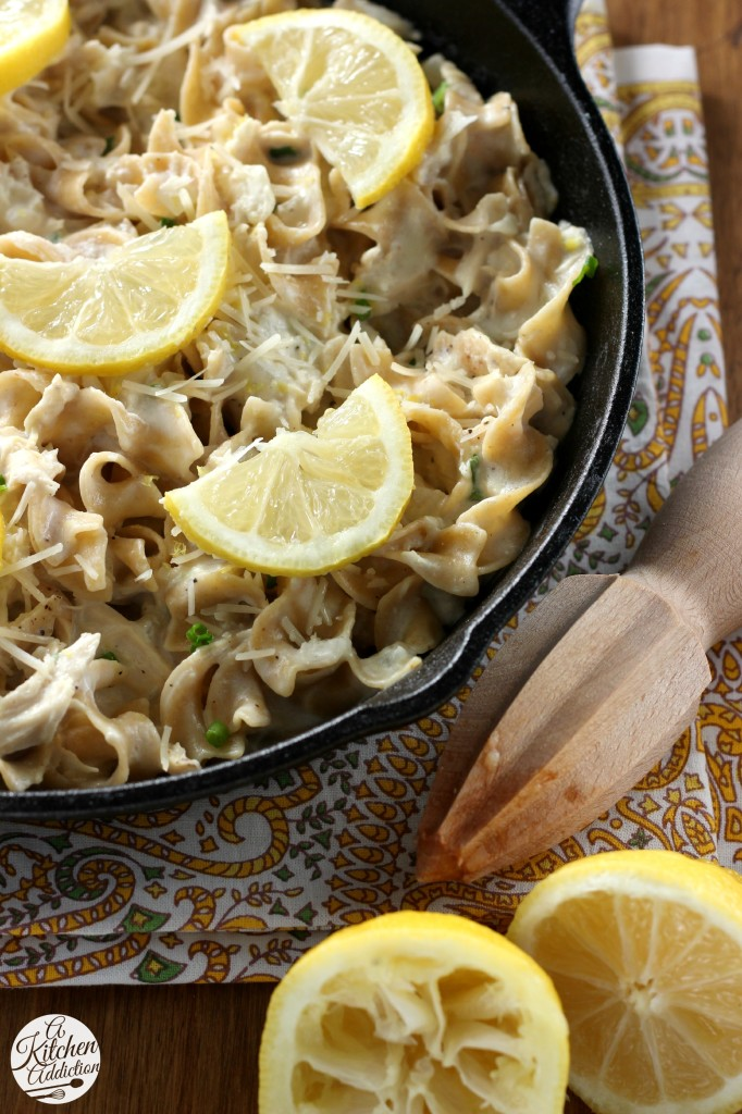 30 Minute Lemony Chicken and Chives Noodle Skillet l www.a-kitchen-addiction.com