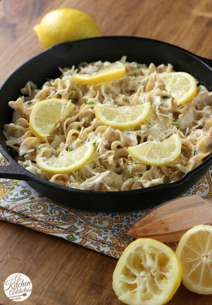 Quick and Easy Lemony Chicken Noodle Skillet Recipe from A Kitchen Addiction