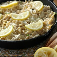 Lemony Chicken and Chives Noodle Skillet