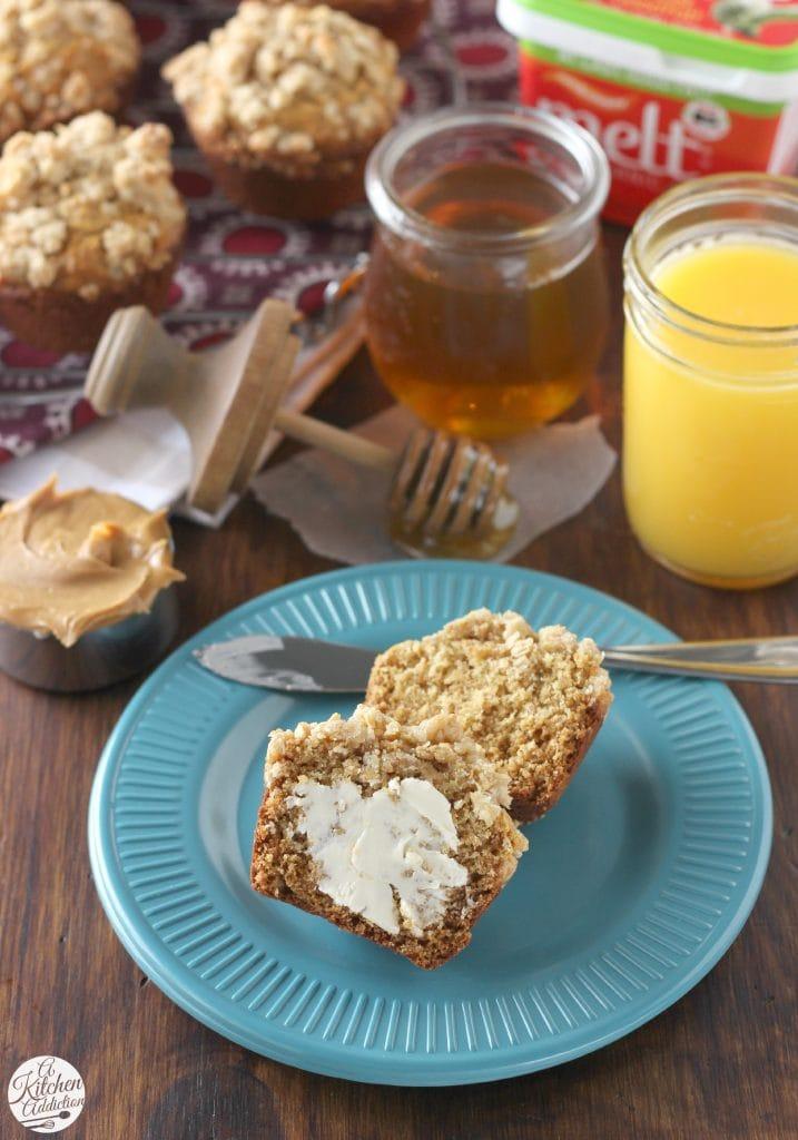Peanut Butter Honey Oat Muffins l www.a-kitchen-addiction.com