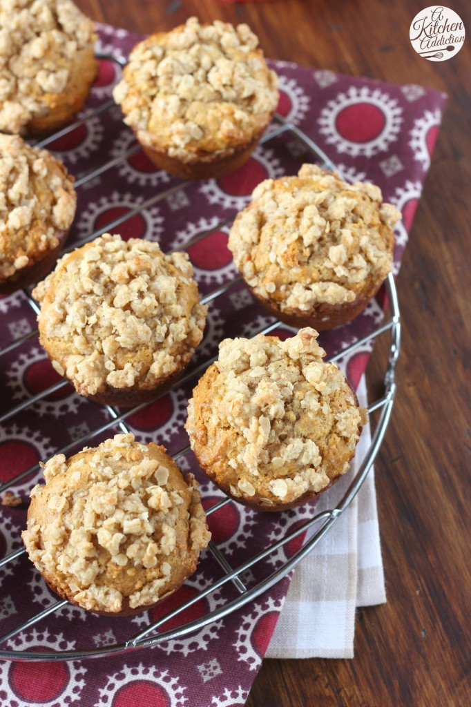 Peanut Butter Honey Oat Muffins from A Kitchen Addiction