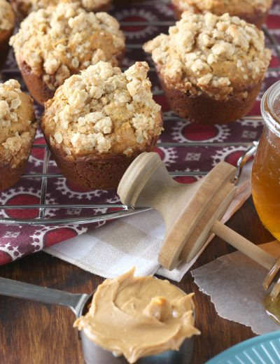 Healthier Peanut Butter Honey Oat Muffins l www.a-kitchen-addiction.com
