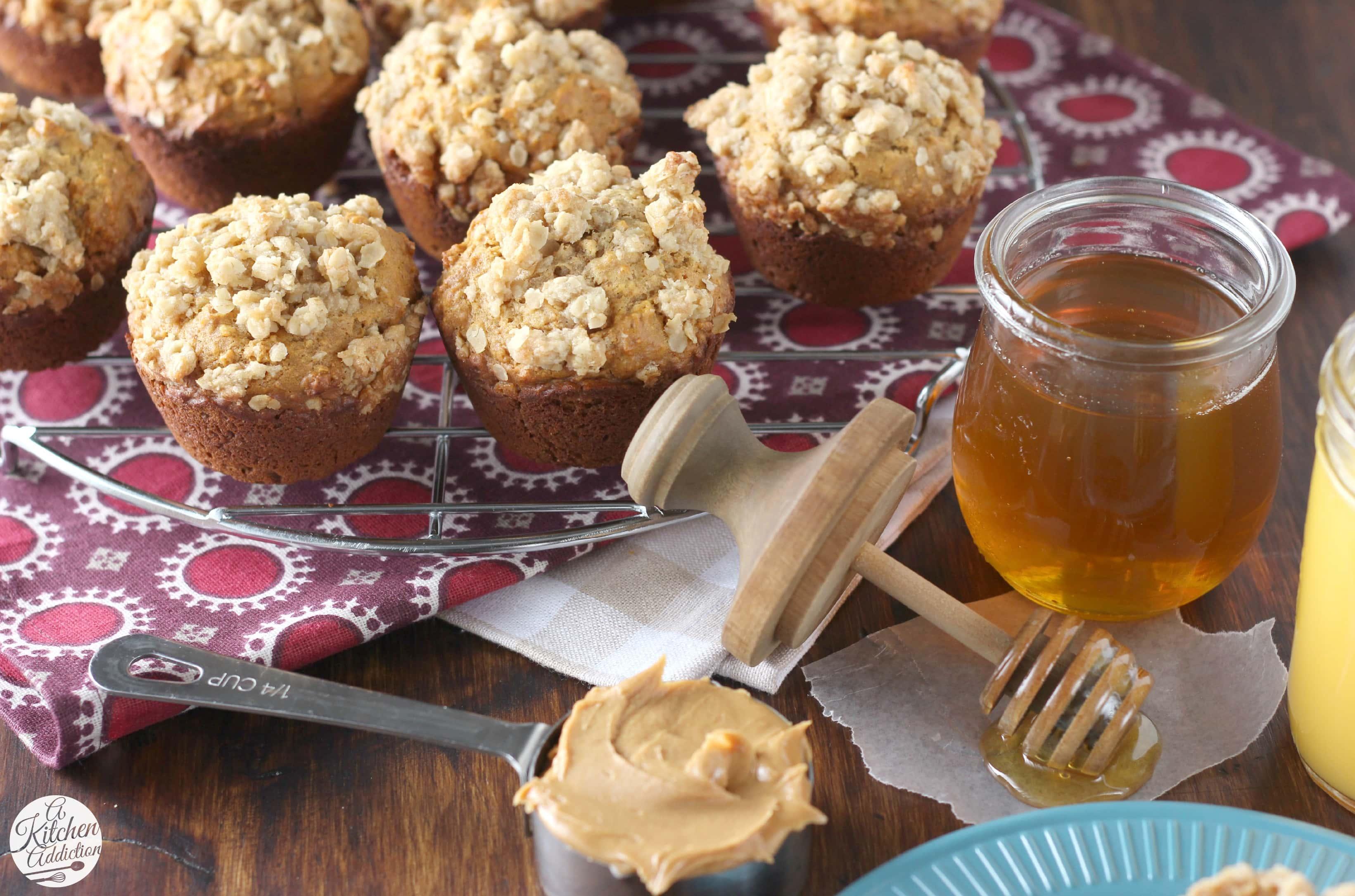 Healthier Peanut Butter Honey Oat Muffins l www.a-kitchen-addiction.com