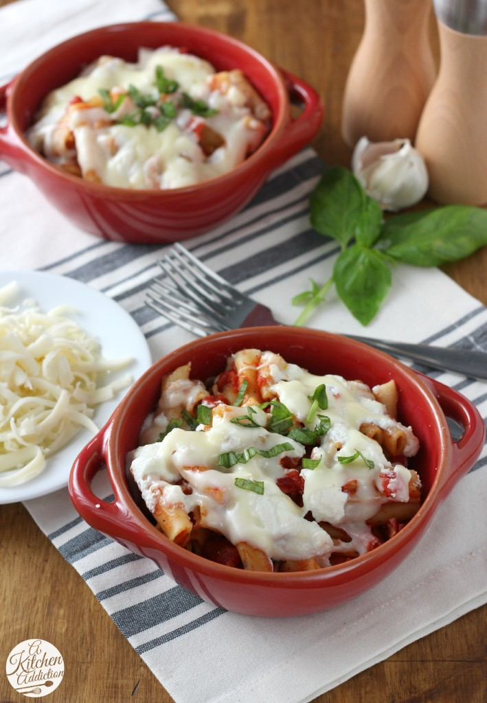 Slow Cooker Easy Baked Ziti Recipe from A Kitchen Addiction