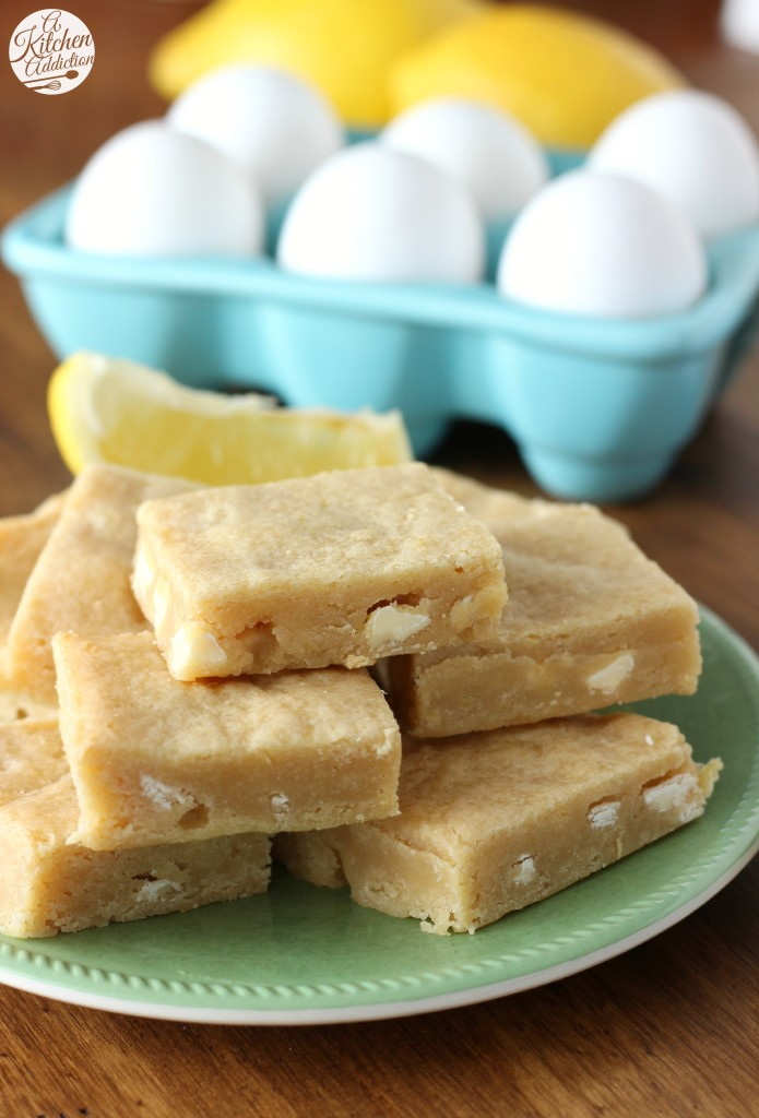 Easy White Chocolate Lemon Blondies from A Kitchen Addiction