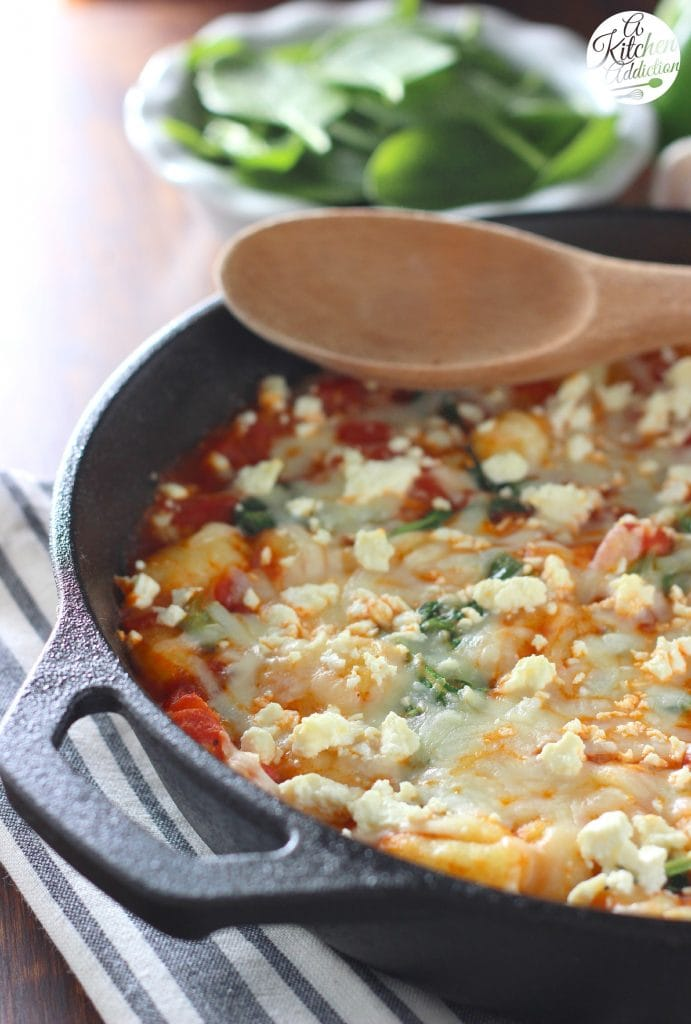 30 Minute Cheesy Gnocchi Skillet with Tomatoes and Spinach Recipe l www.a-kitchen-addiction.com