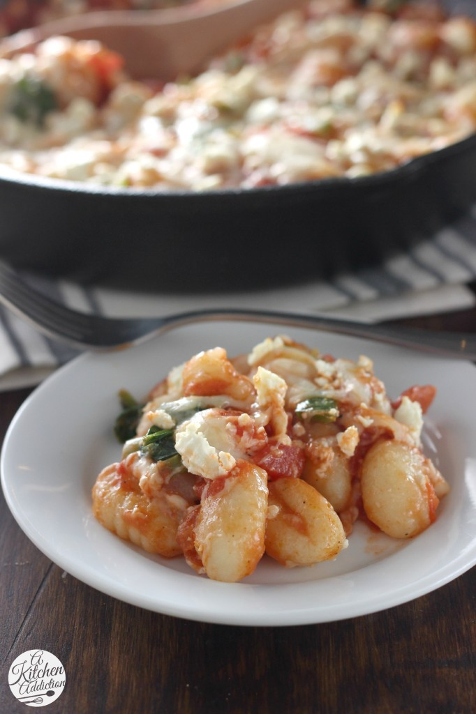 30 Minute Cheesy Gnocchi Skillet with Tomatoes and Spinach from A Kitchen Addiction