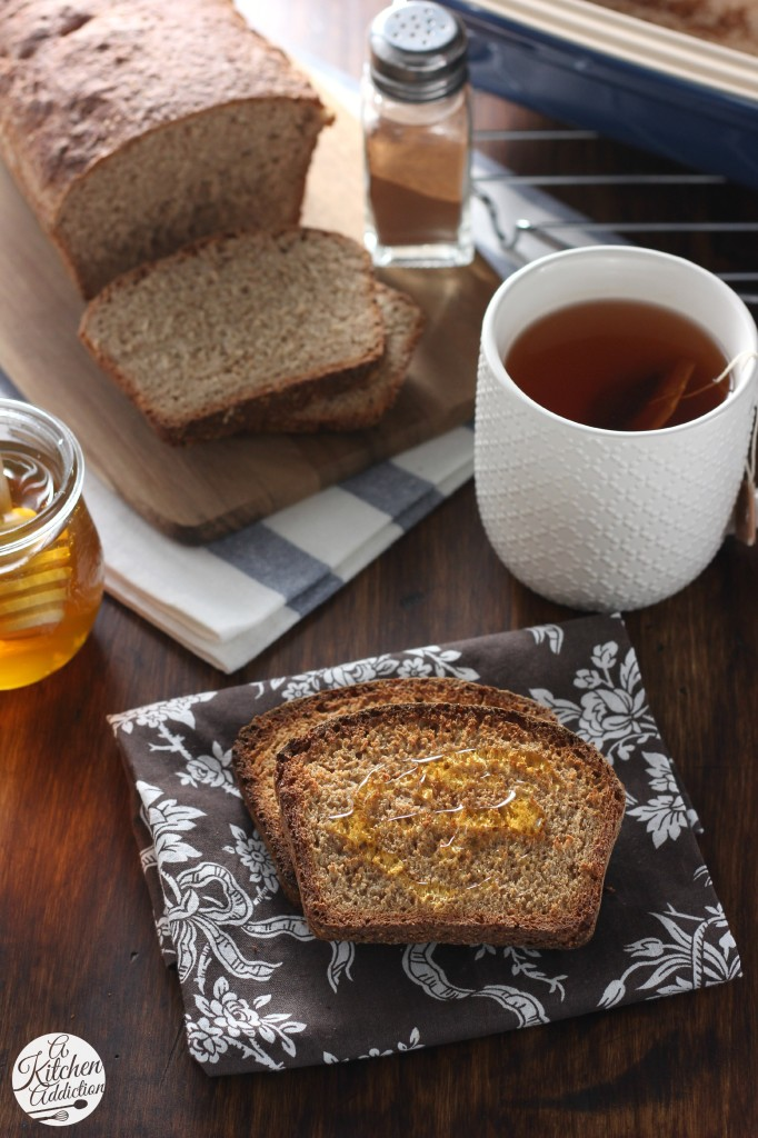 Easy Cinnamon Honey Wheat English Muffin Bread from A Kitchen Addiction