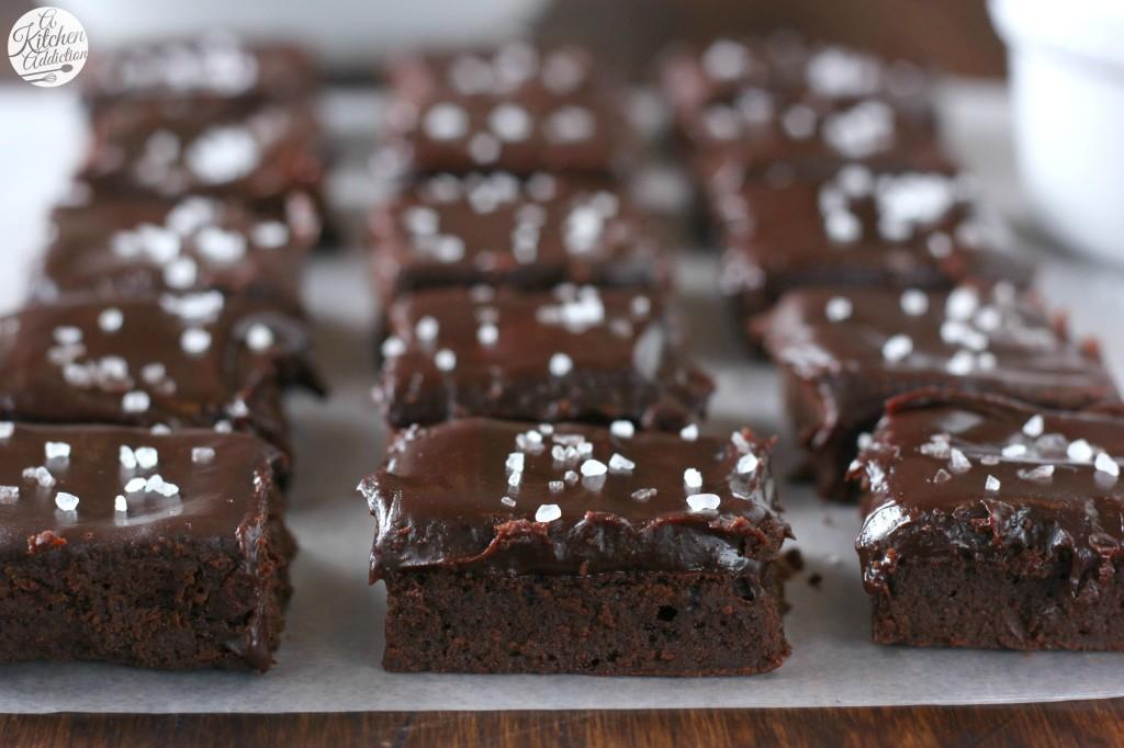 Fudgy Flourless Brownies with Rich Sea Salt Ganache from A Kitchen Addiction