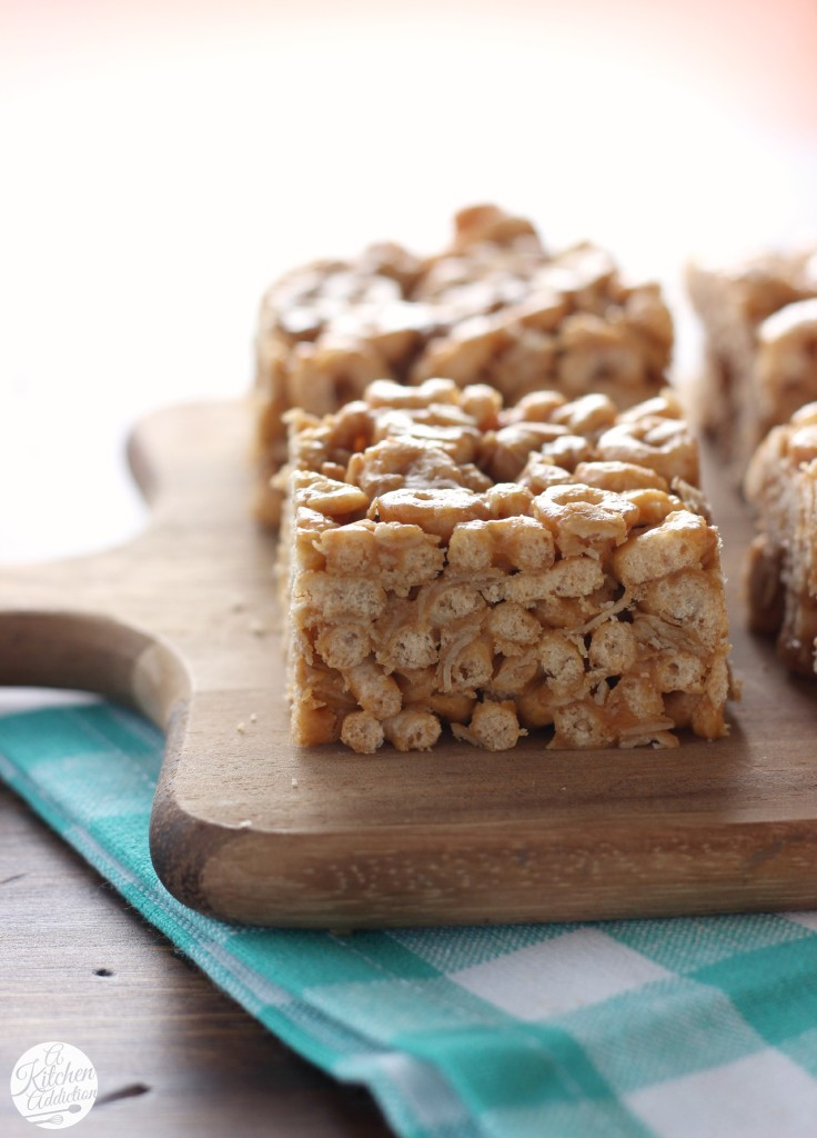 No Bake Peanut Butter Honey Cereal Bars from A Kitchen Addiction