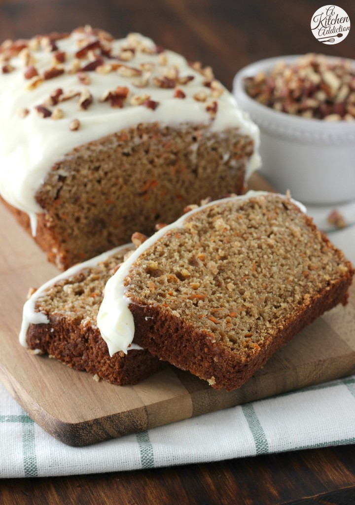 Carrot Cake Quick Bread with Cream Cheese Frosting Recipe l www.a-kitchen-addiction.com @akitchenaddict